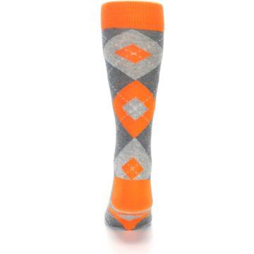Image of Tangerine Orange Gray Argyle Men's Dress Socks (back-18)