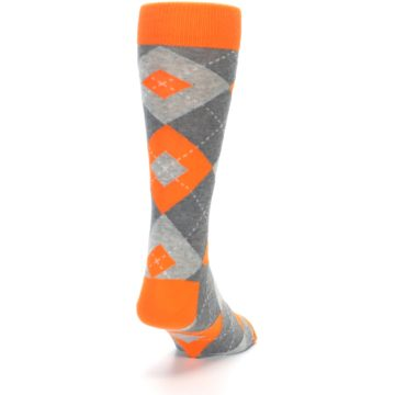 Image of Tangerine Orange Gray Argyle Men's Dress Socks (side-1-back-20)