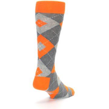 Image of Tangerine Orange Gray Argyle Men's Dress Socks (side-1-back-21)