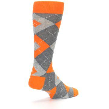 Image of Tangerine Orange Gray Argyle Men's Dress Socks (side-1-back-22)