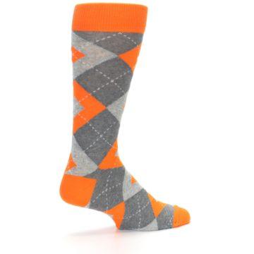 Image of Tangerine Orange Gray Argyle Men's Dress Socks (side-1-23)