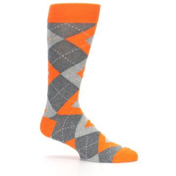 Image of Tangerine Orange Gray Argyle Men's Dress Socks (side-1-25)