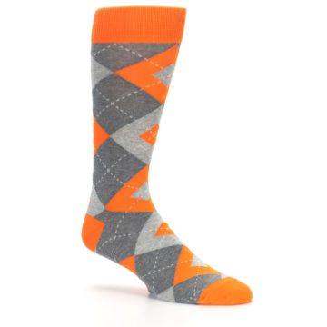 Image of Tangerine Orange Gray Argyle Men's Dress Socks (side-1-26)