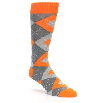 Image of Tangerine Orange Gray Argyle Men's Dress Socks (side-1-27)
