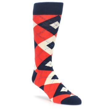 Persimmon Wedding Argyle Socks for Groomsmen