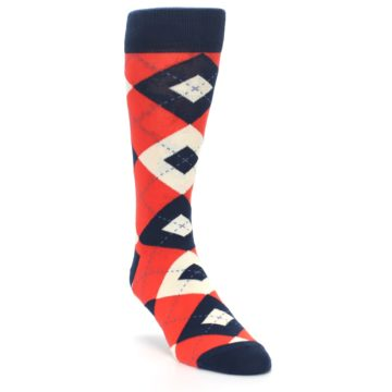 Image of Persimmon Orange-Red Navy Argyle Wedding Groomsmen Men's Dress Socks (side-1-front-02)