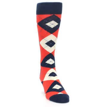 Image of Persimmon Orange-Red Navy Argyle Wedding Groomsmen Men's Dress Socks (side-1-front-03)