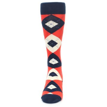 Image of Persimmon Orange-Red Navy Argyle Wedding Groomsmen Men's Dress Socks (front-05)