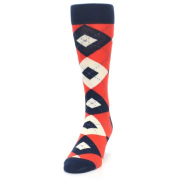 Image of Persimmon Orange-Red Navy Argyle Wedding Groomsmen Men's Dress Socks (side-2-front-06)