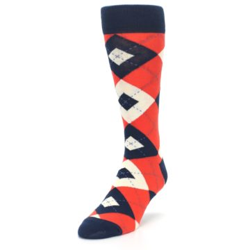 Image of Persimmon Orange-Red Navy Argyle Wedding Groomsmen Men's Dress Socks (side-2-front-07)