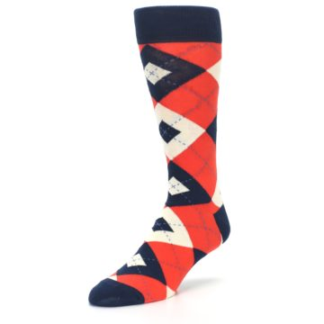 Image of Persimmon Orange-Red Navy Argyle Wedding Groomsmen Men's Dress Socks (side-2-front-08)