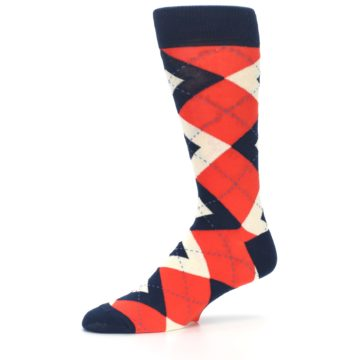 Image of Persimmon Orange-Red Navy Argyle Wedding Groomsmen Men's Dress Socks (side-2-10)