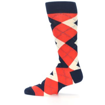 Image of Persimmon Orange-Red Navy Argyle Wedding Groomsmen Men's Dress Socks (side-2-12)