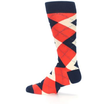 Image of Persimmon Orange-Red Navy Argyle Wedding Groomsmen Men's Dress Socks (side-2-13)