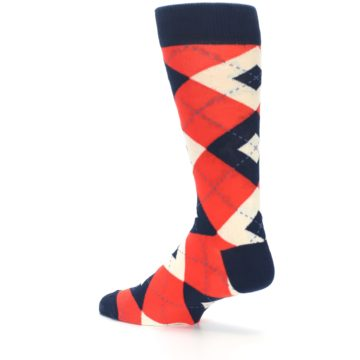 Image of Persimmon Orange-Red Navy Argyle Wedding Groomsmen Men's Dress Socks (side-2-back-14)