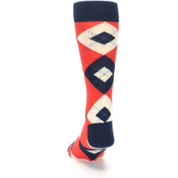 Image of Persimmon Orange-Red Navy Argyle Wedding Groomsmen Men's Dress Socks (back-17)