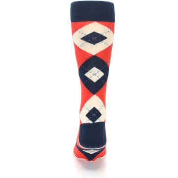 Image of Persimmon Orange-Red Navy Argyle Wedding Groomsmen Men's Dress Socks (back-18)