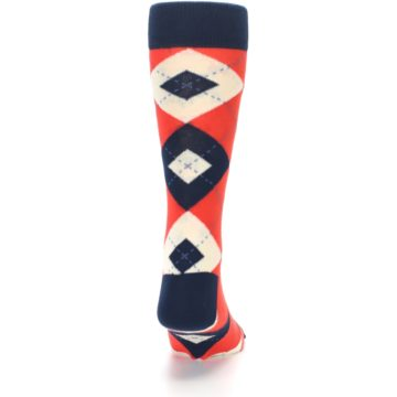 Image of Persimmon Orange-Red Navy Argyle Wedding Groomsmen Men's Dress Socks (back-19)