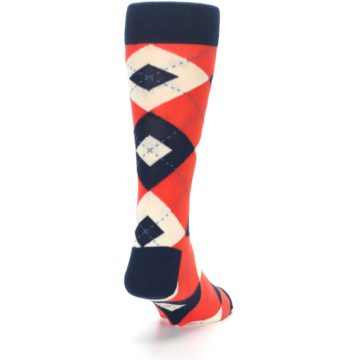 Image of Persimmon Orange-Red Navy Argyle Wedding Groomsmen Men's Dress Socks (side-1-back-20)
