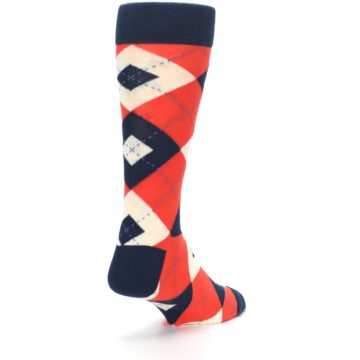 Image of Persimmon Orange-Red Navy Argyle Wedding Groomsmen Men's Dress Socks (side-1-back-21)