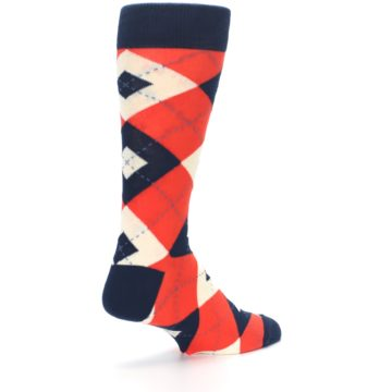 Image of Persimmon Orange-Red Navy Argyle Wedding Groomsmen Men's Dress Socks (side-1-back-22)