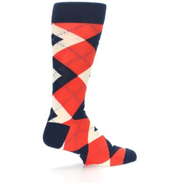 Image of Persimmon Orange-Red Navy Argyle Wedding Groomsmen Men's Dress Socks (side-1-23)