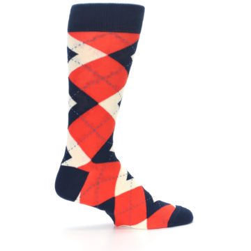 Image of Persimmon Orange-Red Navy Argyle Wedding Groomsmen Men's Dress Socks (side-1-24)