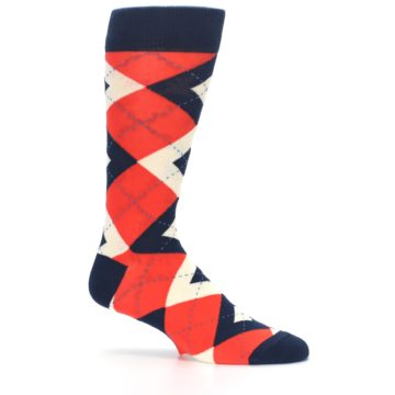 Image of Persimmon Orange-Red Navy Argyle Wedding Groomsmen Men's Dress Socks (side-1-25)