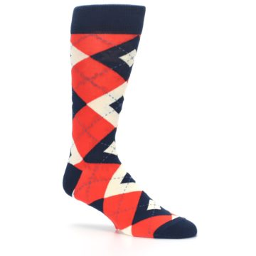 Image of Persimmon Orange-Red Navy Argyle Wedding Groomsmen Men's Dress Socks (side-1-26)