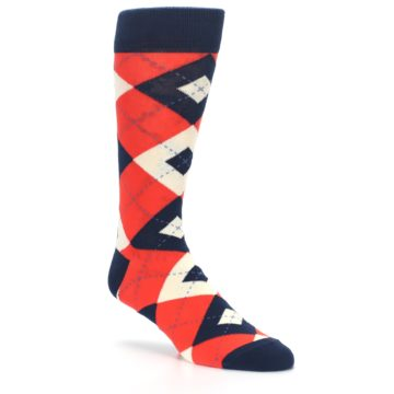 Image of Persimmon Orange-Red Navy Argyle Wedding Groomsmen Men's Dress Socks (side-1-27)