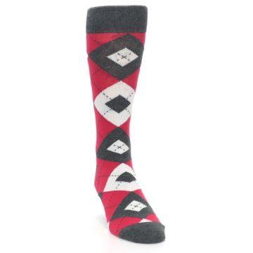 Image of Cherry Red Gray Argyle Men's Dress Socks (side-1-front-03)
