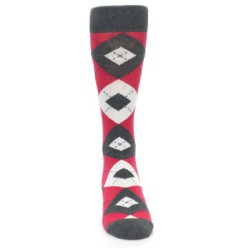 Image of Cherry Red Gray Argyle Men's Dress Socks (front-04)