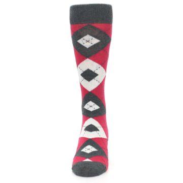 Image of Cherry Red Gray Argyle Men's Dress Socks (front-05)