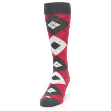 Image of Cherry Red Gray Argyle Men's Dress Socks (side-2-front-06)