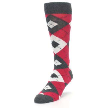 Image of Cherry Red Gray Argyle Men's Dress Socks (side-2-front-07)
