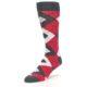 Image of Cherry Red Gray Argyle Men's Dress Socks (side-2-front-08)