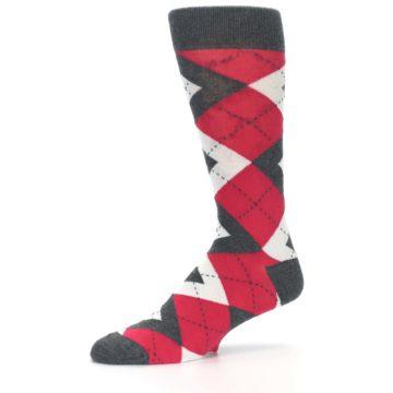 Image of Cherry Red Gray Argyle Men's Dress Socks (side-2-10)
