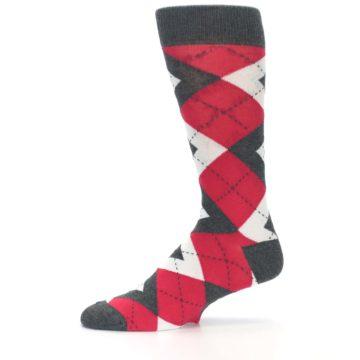 Image of Cherry Red Gray Argyle Men's Dress Socks (side-2-11)
