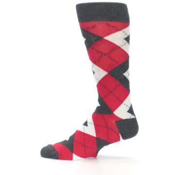 Image of Cherry Red Gray Argyle Men's Dress Socks (side-2-12)