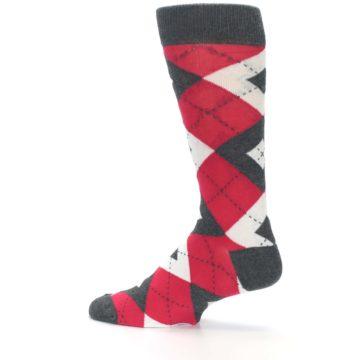 Image of Cherry Red Gray Argyle Men's Dress Socks (side-2-13)