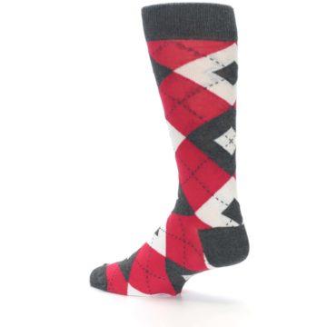 Image of Cherry Red Gray Argyle Men's Dress Socks (side-2-back-14)