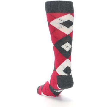 Image of Cherry Red Gray Argyle Men's Dress Socks (side-2-back-16)