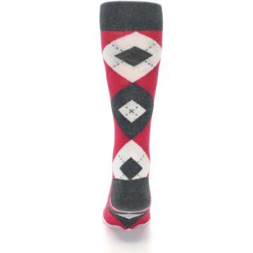 Image of Cherry Red Gray Argyle Men's Dress Socks (back-18)