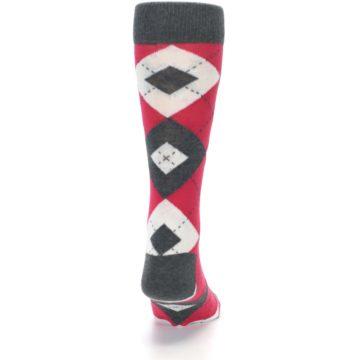 Image of Cherry Red Gray Argyle Men's Dress Socks (back-19)