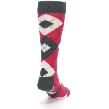 Image of Cherry Red Gray Argyle Men's Dress Socks (side-1-back-20)