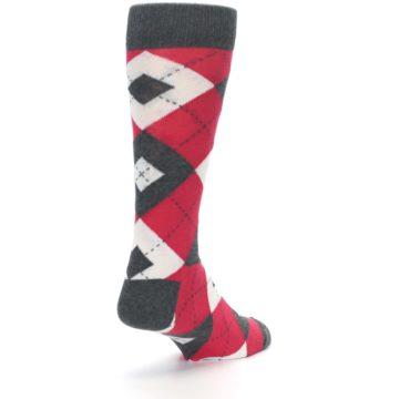 Image of Cherry Red Gray Argyle Men's Dress Socks (side-1-back-21)