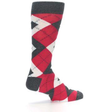 Image of Cherry Red Gray Argyle Men's Dress Socks (side-1-23)