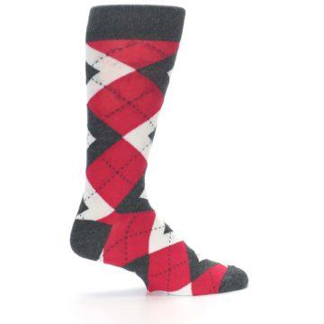 Image of Cherry Red Gray Argyle Men's Dress Socks (side-1-24)