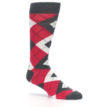 Image of Cherry Red Gray Argyle Men's Dress Socks (side-1-26)