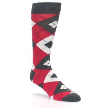 Image of Cherry Red Gray Argyle Men's Dress Socks (side-1-27)